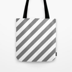 Diagonal Stripes (Gray/White) Tote Bag
