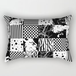 Eclectic Black and White Squares Rectangular Pillow