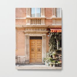 The wooden door | Travel photography Bologna Europe  Metal Print