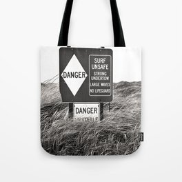 """Surf Unsafe, Strong Undertow"" Beach Access Sign Washington Coast, Pacific Northwest Tote Bag"