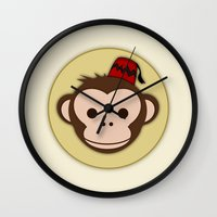fez Wall Clocks featuring Monkey with Fez by JaggedGenius