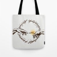 lord of the ring Tote Bags featuring God of Ring by le.duc