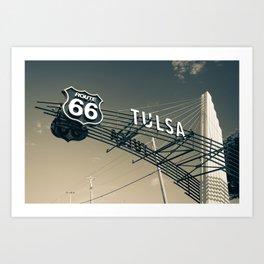 Tulsa Oklahoma Vintage Route 66 Sign - Dark Sepia Art Print