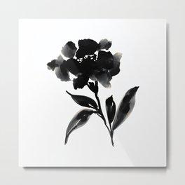 Elegant Ink Floral Metal Print