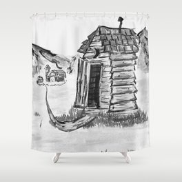 Outhouse, Primitive Art, Black & White Print of Painting by Faye Shower Curtain