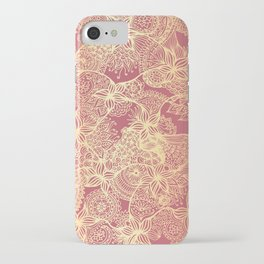 Pink and Gold Mandala Doodle Patterns iPhone Case