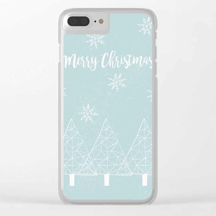 Merry Christmas Mint Clear iPhone Case