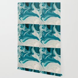 Blue White Abstract Marble Wallpaper