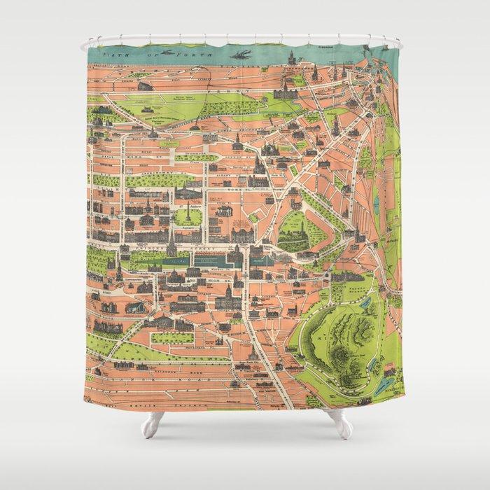Vintage Map of Edinburgh Scotland (1935) Shower Curtain