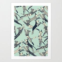 dog party indigo mint Art Print