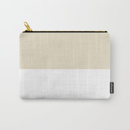 White and Pearl Brown Horizontal Halves Carry-All Pouch