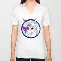 the last unicorn V-neck T-shirts featuring Last Unicorn by AriesNamarie