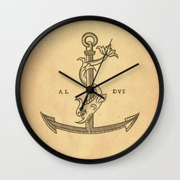 Aldus Manutius Printer Mark Wall Clock