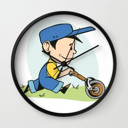 and mowing lawns farmers son Wall Clock