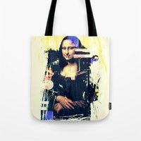 mona lisa Tote Bags featuring mona lisa by manish mansinh