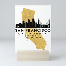 SAN FRANCISCO CALIFORNIA SILHOUETTE SKYLINE MAP ART Mini Art Print