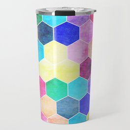 Honeycombs print, colorful hexagons Travel Mug