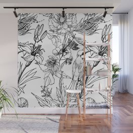 MONOCHROME HUMMING BIRD AND FLOWERS Wall Mural