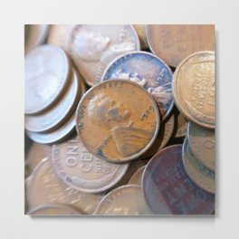 Watercolor Coins, Lincoln Wheat Pennies, 1929 04 Metal Print