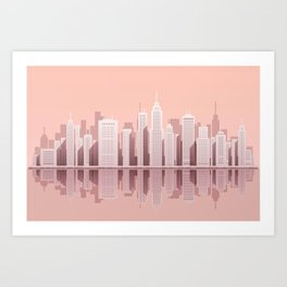 Pink City Manhattan Art Print