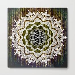 Virtual Spirit Mandala Computer Code Metal Print