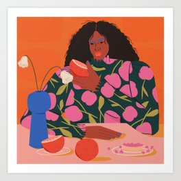 Still Life of a Woman with Dessert and Fruit Art Print