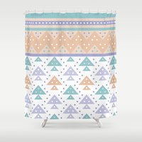 pee wee Shower Curtains featuring Tee-Pee by According to Panda