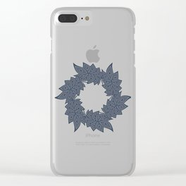 Circle of leaves denim photocollage Clear iPhone Case