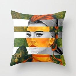 Frida Kahlo's Self Portrait with Monkey & Sophia Loren Throw Pillow