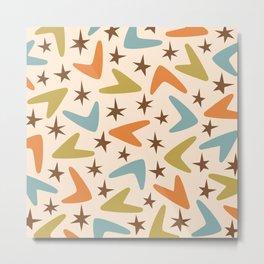 Retro Mid Century Modern Boomerang and Stars Pattern 442 Metal Print