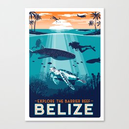 Belize Travel poster vintage tropical reef Canvas Print