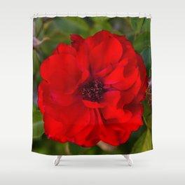 Vibrant Red Flower Shower Curtain