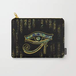 Egyptian Eye of Horus  on hieroglyphics gold and marble Carry-All Pouch