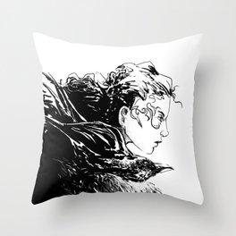 Crow Girl Throw Pillow