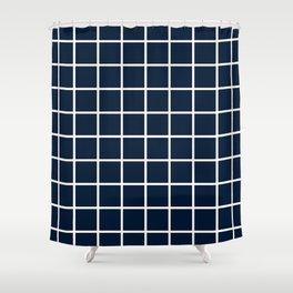 GRID DESIGN (WHITE-NAVY BLUE) Shower Curtain