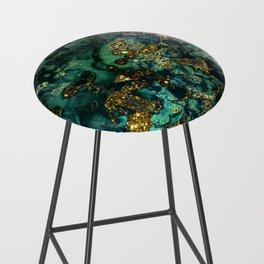 Gold Indigo Malachite Marble Bar Stool