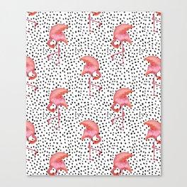 Flamingos and Polka Dots by Katrina Ward Canvas Print