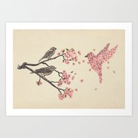 silhouette Art Prints featuring Blossom Bird  by Terry Fan