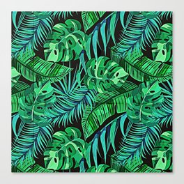 Blue and Green Ferns and Tropical Leaves Canvas Print