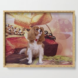Ribbons, Bells And Cavalier King Charles Spaniel Serving Tray
