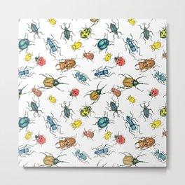 Beetles, watercolor and ink Metal Print