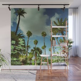 Yves Palm Tress reflection on pond with Lily Pads Wall Mural