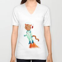 space cat V-neck T-shirts featuring Space Cat by Stephanie Fizer Coleman