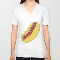 hot dog V-neck T-shirts featuring Hot Dog by Amber Lily Fryer