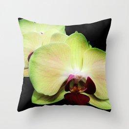 Green Orchids Throw Pillow
