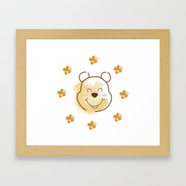 Inspired Pooh Bear surrounded with bees Framed Art Print