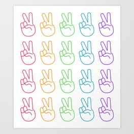 Rainbow Peace Sign Pattern Art Print