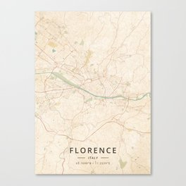 Florence, Italy - Vintage Map Canvas Print