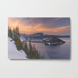 Wizard Island in Crater Lake in Oregon, USA at sunset Metal Print