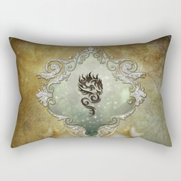 Wonderful tribal dragon on vintage background Rectangular Pillow
